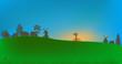 illustration with village at blue sky
