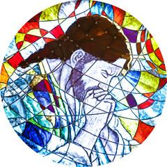 Naklejka Stained glass showing Jesus praying
