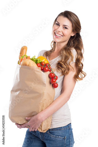 Fotografía  Young Woman Holding Grocery Bag