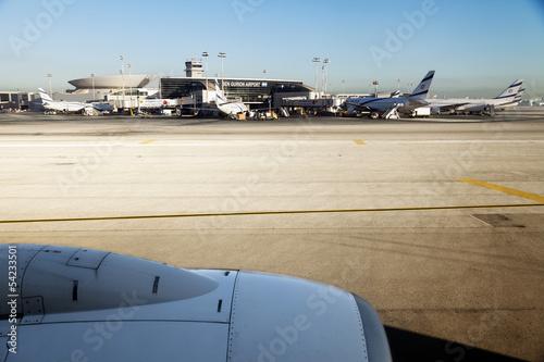 Deurstickers Luchthaven Israeli Planes at Ben-Gurion Airport
