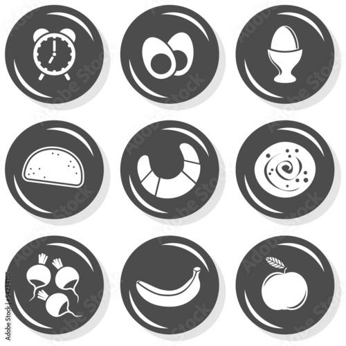 Obraz budzik śniadanie jedzenie zestaw szarych płaskich ikon - fototapety do salonu