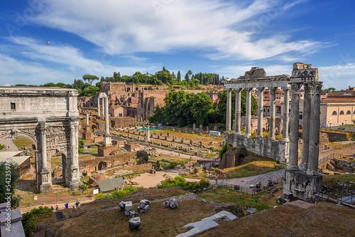 Photo  view of Forum romanum in Rome. Italy.
