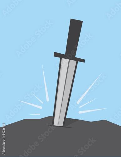 Fotografie, Obraz  Sword stuck in large rock
