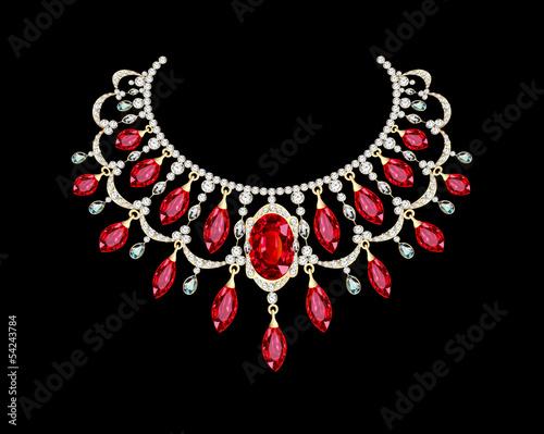 Fotografia Golden necklace  female with red precious stones