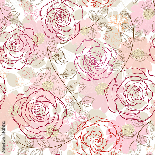 Tuinposter Abstract bloemen seamless floral background