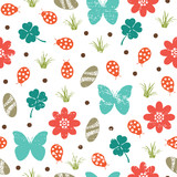 Vintage nature themed seamless pattern.
