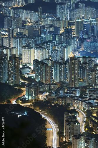 Aerial view of Hong Kong city Poster