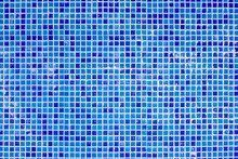 Blue Dirty Tiles In Bathroom With Water Drops