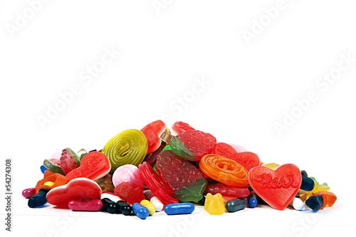 Fotobehang Snoepjes Süßigkeiten auf weiß isoliert