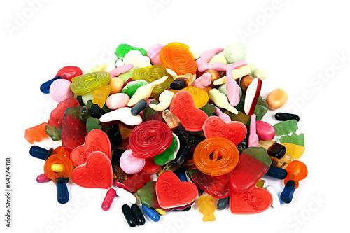 Foto op Aluminium Snoepjes Süßigkeiten auf weiß isoliert