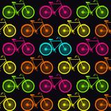 Wektor wzór z rowerami w luminescencyjnym kolorze - 54275583