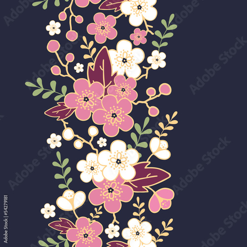 Vector night garden sakura blossoms vertical seamless pattern Poster