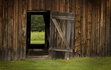 Barn Door Open On Green Landsc...