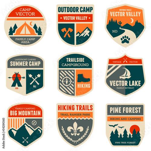 Fototapeta Retro camp badges obraz