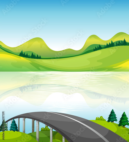 Fotobehang Boerderij A road bridge near the lake