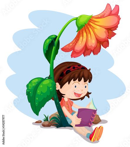 ilustracja-dziewczynka-czytajaca-ksiazke-pod-gigantycznym-kwiatkiem