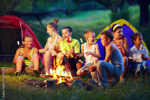 Photo  group of happy kids roasting marshmallows on campfire