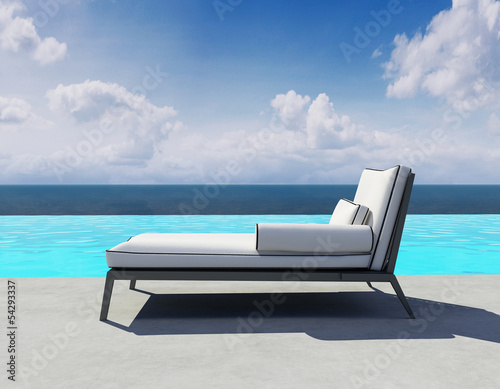 Summer lounge, outdoor deck chair by the swimming pool Canvas Print