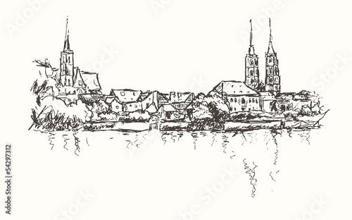 rysunkowa-ilustracja-wroclawia-na-bialym-tle