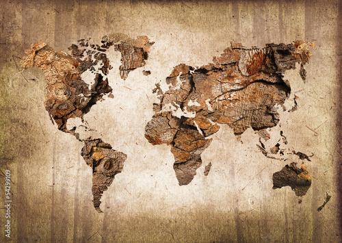 Fotografia  Światowa mapa drewno, rocznik tekstura