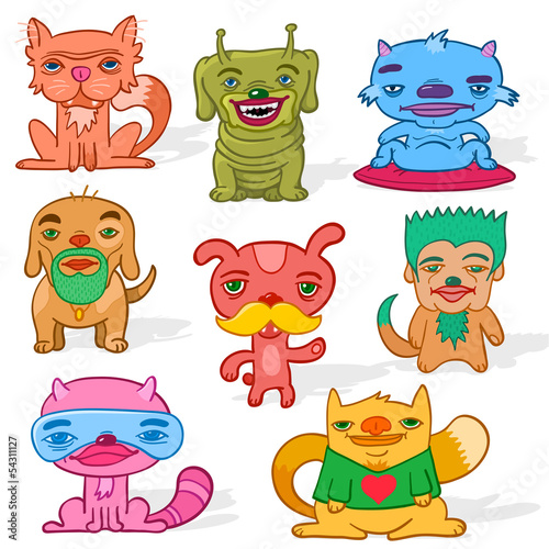 Deurstickers Set of weird pets