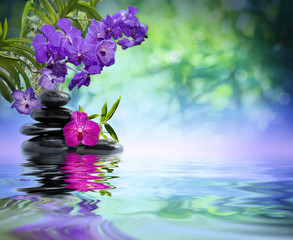 Obraz na Plexiviolet orchids, black stones on the water