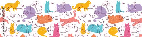 fototapeta na ścianę Wektor Kolorowe Koty pozioma bezszwowe tło wzór