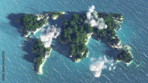mapa-swiata-na-wodzie-wyspa-z-drzewami-i-chmurami