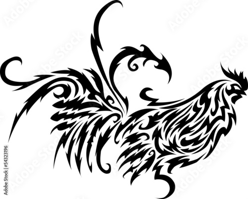 Poster Sprookjeswereld Rooster tribal