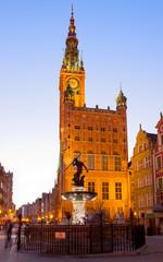 Fototapeta Gdańsk city hall of Gdansk at night