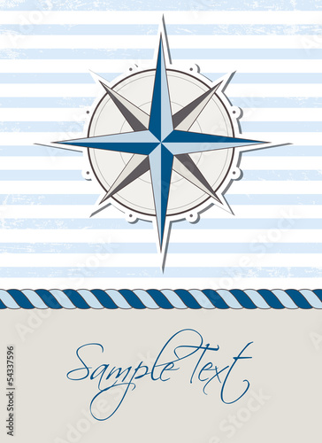 Stampa su Tela Nautical background with compass, marine card