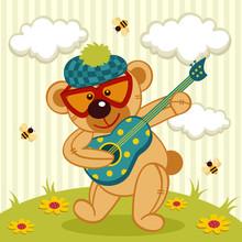 Teddy Bear Play On A Guitar - Vector Illustration