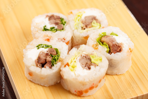 sushi with meat