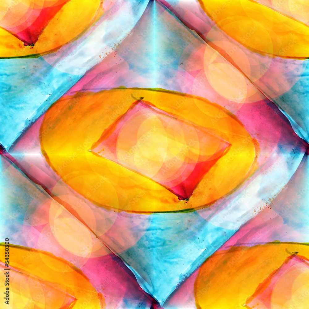 sunlight abstract yellow, red, blue, art watercolor stain