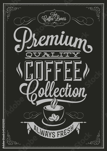 Photo  Coffee Typography Background On Chalkboard