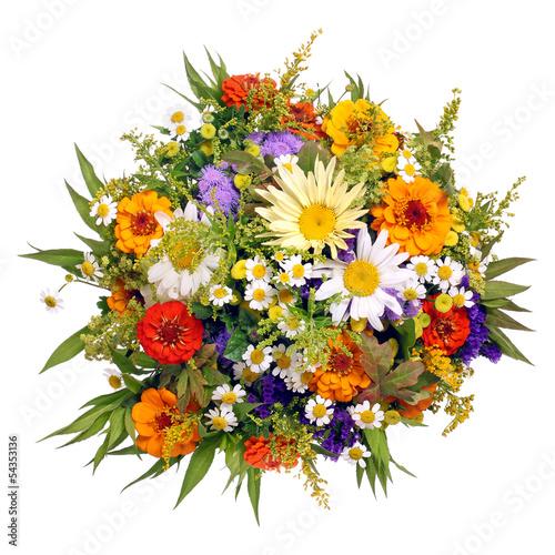 Foto op Canvas Madeliefjes Bunter Blumenstrauß aus dem Bauerngarten