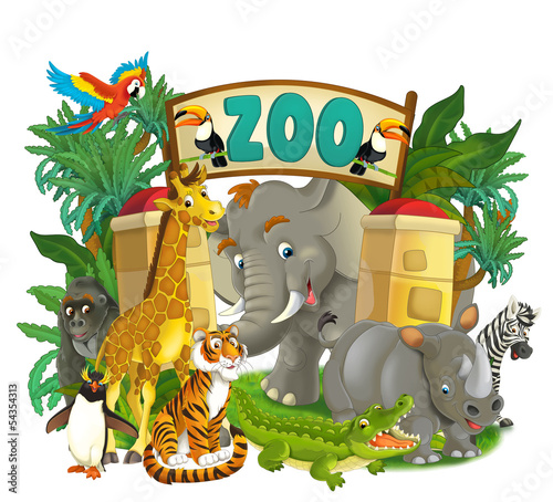 Photo Stands Draw Cartoon zoo - amusement park - illustration