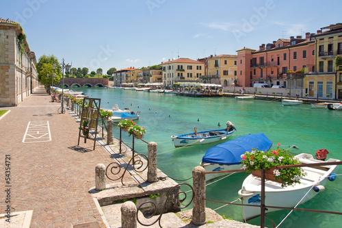 Peschiera del Garda, Italien, Mincio, Boote Canvas Print
