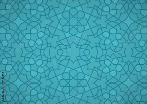 Stampa su Tela  Turquoise Ottoman Pattern