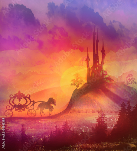 Carriage at sunset. Silhouette of a horse carriage and a mediev - 54365395
