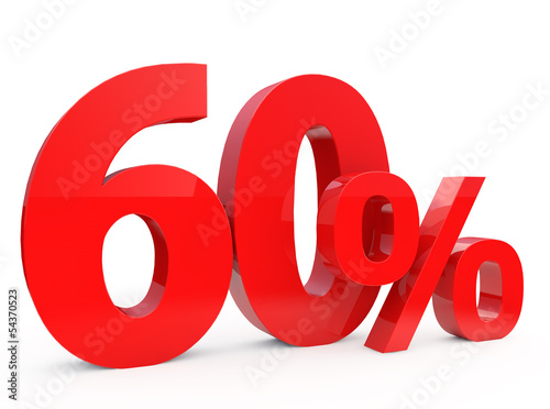 Poster  Red sixty percent off. Discount 60%