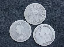Victoria, Threepence,  Silver,...