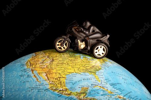 Nowoczesny obraz na płótnie Motorbike on globe