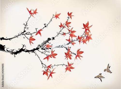 Fotografie, Obraz  ink style maple leaves