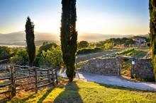 Toskana Landschaft Im Sonnenuntergang