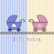 Baby Arrival Card Twins Boy An...
