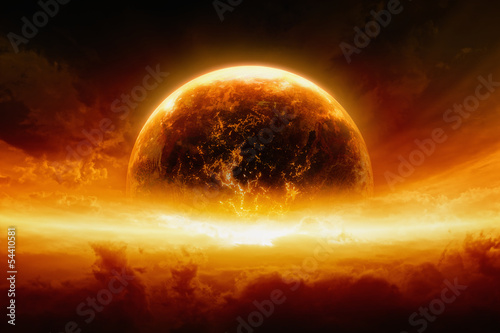 Burning and exploding planet Earth Canvas Print