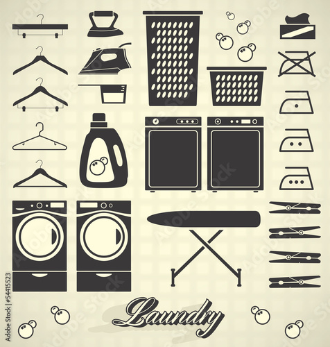 Fotografie, Obraz  Vector Set: Laundry Room Labels and Icons