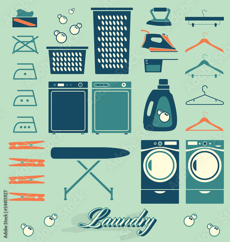 Fotografie, Obraz  Collection of retro style laundry room symbols and icons