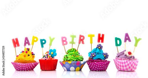 Colorful Happy birthday cupcakes Wallpaper Mural